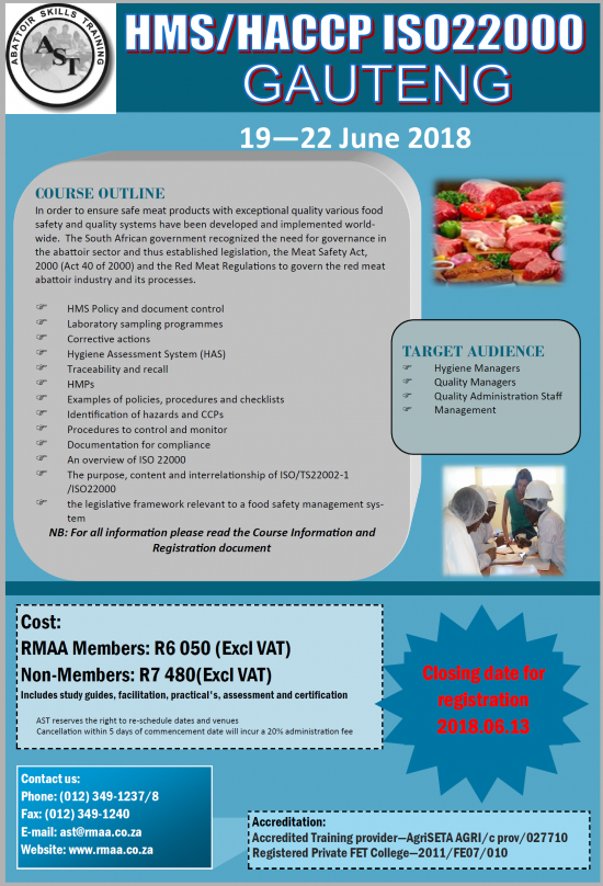HMS HACCP / ISO22000 Course - Red Meat Abattoir