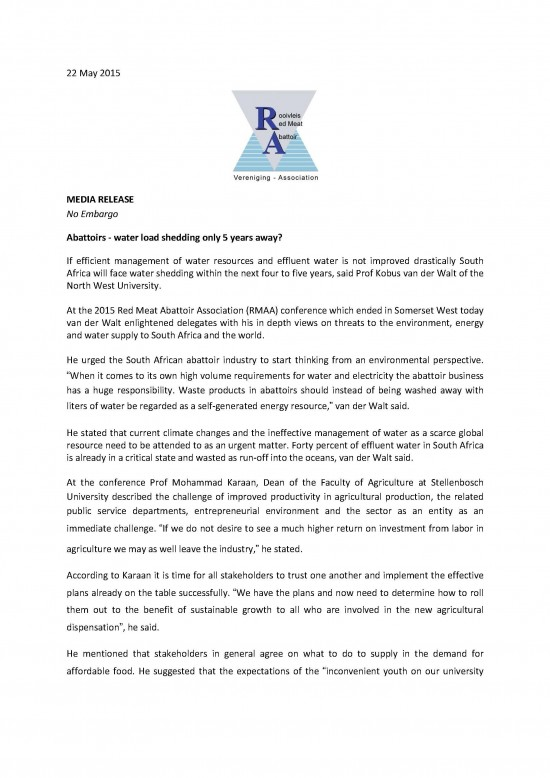 Abattoirs - water load shedding only five years away - 22 May 2015_Page_1