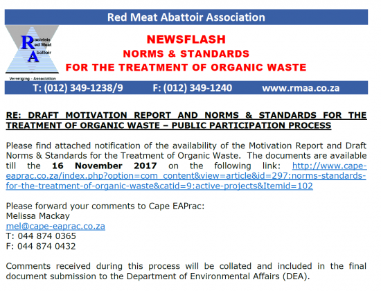 Norms & Standards - Waste Management - Red Meat Abattoir